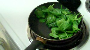 Spinach Cooking breakfast